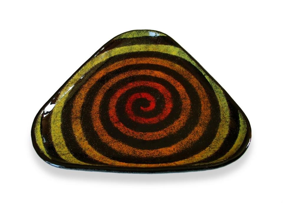 Piattino in vetro nero con spirale