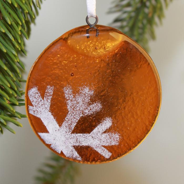 Tondo ambra con fiocco di neve