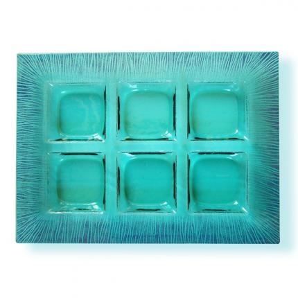 Porta antipasti in vetro di Murano verde acqua