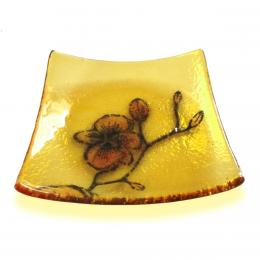 Bomboniera gialla con orchidea arancione