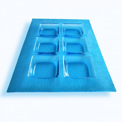 Porta antipasti in vetro di Murano azzurro