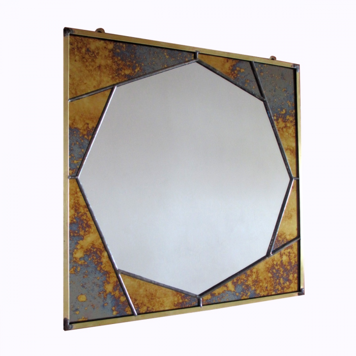 Specchio ottagonale anticato