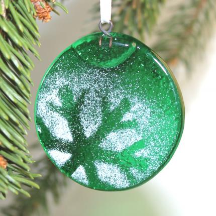 Tondo verde smeraldo con fiocco negativo